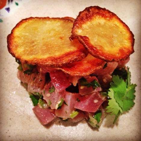 Presented Asian Marinated Tuna Tartare with Homemade Russet Potato Chips Recipe