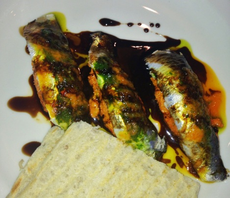 Marinated Sardines - Smoked Tomato and Roasted Garlic Butter, Chili Vincott, Balsamic