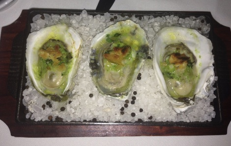 Oysters Rockefeller, Absinthe, Green Onion, Cracker Crumbs