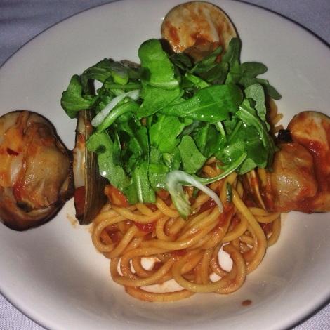 Spaghetti and Clams, Spicy Tomato Sauce, Arugula Salad