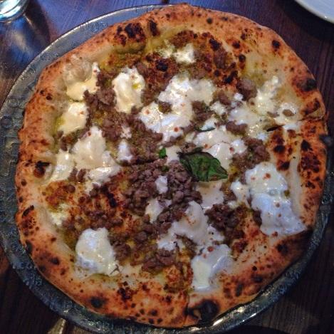 Pistachio Pesto, Sausage, Homemade Mozzarella, Basil Pizza