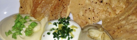 Hummus, Lemon Ricotta, Smoked Eggplant Dips with Lavash Crackers Tessa NYC UWS
