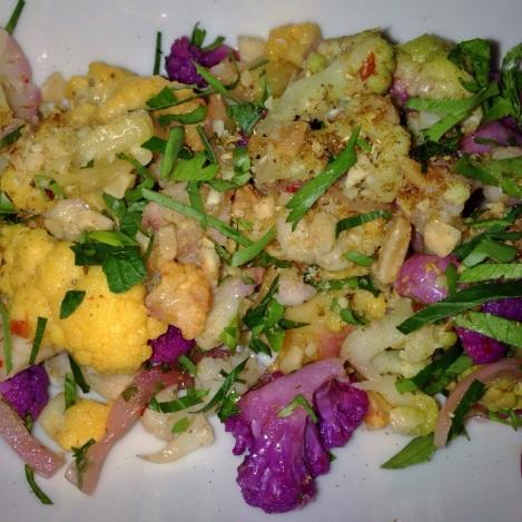 Tri-Color Cauliflower Salad, Golden Raisins, Pickled Red Onion s, Toasted Almonds, Coriander-Yogurt Vinaigrette Tessa NYC Restaurant Upper West Side UWS