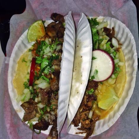 Left - Beef Tongue Taco Right - Barbacoa (Lamb) Taco
