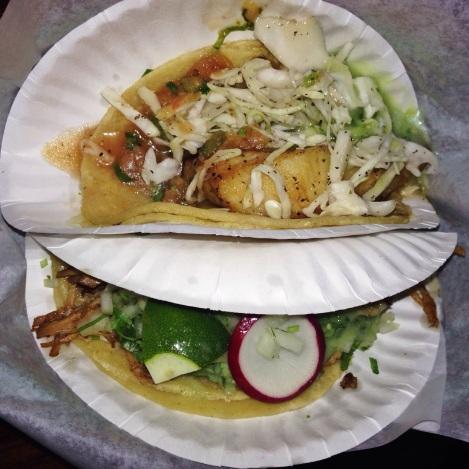 Left - Carnitas Taco Right - Fish Taco