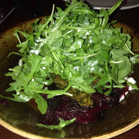 Caramelized Beets, Sky Hill Goat Cheese Crema, Greens, Chimichurri