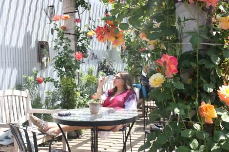 Leigh enjoying sweet wine in Hagafen's Garden