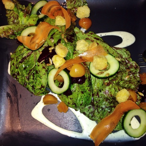 """Slad of TFL Lettuces"" - English Cucumber, Ice Top Carrots, Toasted Sunflower Seeds, Brioche Croutons, Golden and Ruby Red Beets, Creamy Pepper Dressing"