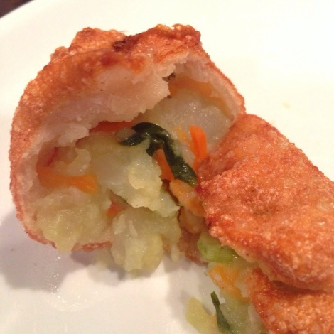 Inside - Deep Fried Momo (Dumpling) with Potato, Carrot and Spinach