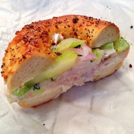 Everything Bagel with Whitefish Salad, Cream Cheese, Sweet Cucumber and Pickled Onions