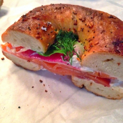 Everything Bagel with Smoked Salmon, Horseradish Cream Cheese, Watermelon Radish, Parsley & Dill