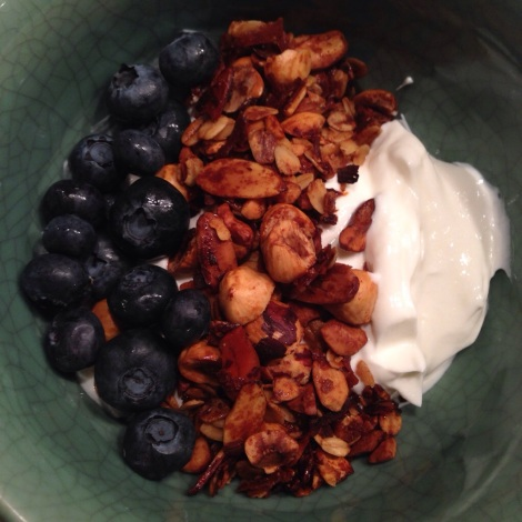 Greek Yogurt, Cottage Cheese, Granola and Blueberries