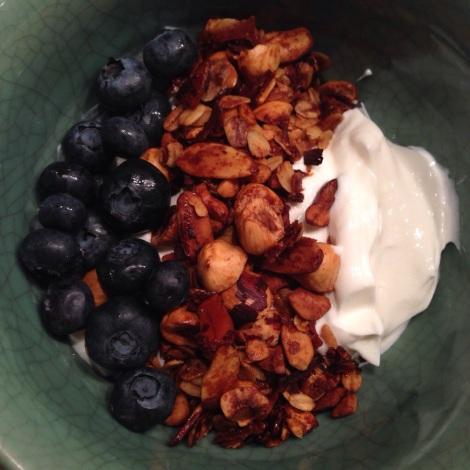 Greek Yogurt, Cottage Cheese, Granola and Blueberries