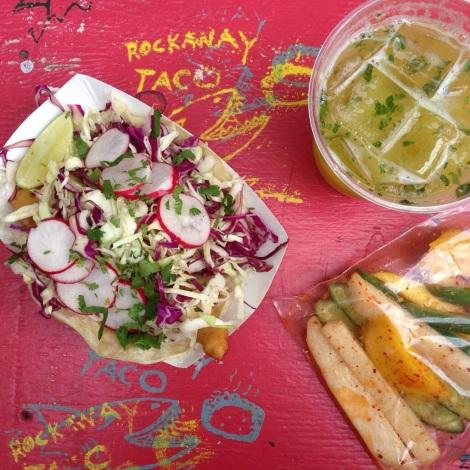 Fish Taco, Carnitas Taco, Cucumber Salad (Cucumber, Jicama, Mango, Spicy Vinaigrette)