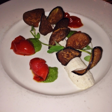 Crispy Eggplant, Roasted Tomatoes,