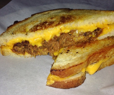 Beer Braised Short Rib Grilled Cheese (with American) on Sourdough