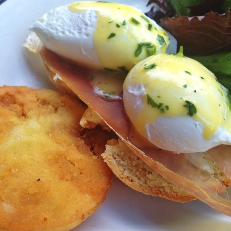 Greene Eggs & Ham - Fried Green Tomatoes, Prosciutto, Homemade Biscuits, Poached Eggs, Hollandaise