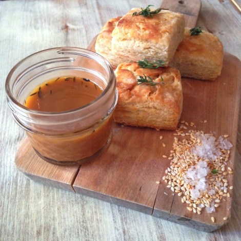 Biscuits, Thyme, Honey-Roasted Chicken Jus, Toasted Benne-Seed Sea Salt