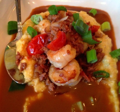 Shrimp and Grits, Country Ham, Brooklyn Lager Jus, Sauteed Shrimp, Caramelized Red Onions, Local NY Grits
