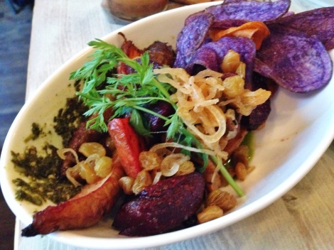 Roasted Rainbow Roots (Red and Golden Beets and Carrots), Carrot Top Pesto, Puffed Carolina Rice, Purple Potato Chips
