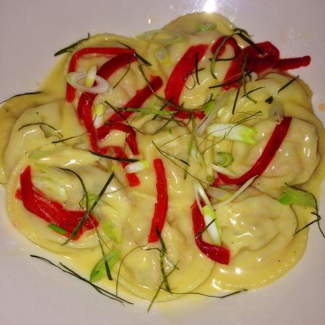 Lobster Ravioli in Ginger Beurre-Blanc with Piquillo Peppers