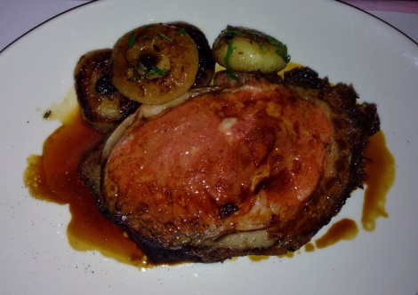Dry Aged Prime Rib (Medium Rare) with Cider Braised Onions