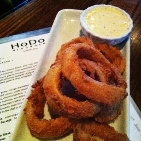 Fried Pickled Onion Rings with White Cheddar Dressing