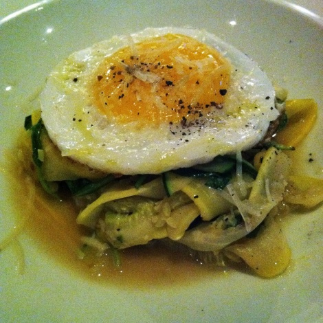 Zucchini Carbonara, with Yellow and Green Zucchini, Parmesan, Wilted Arugula and Duck Egg