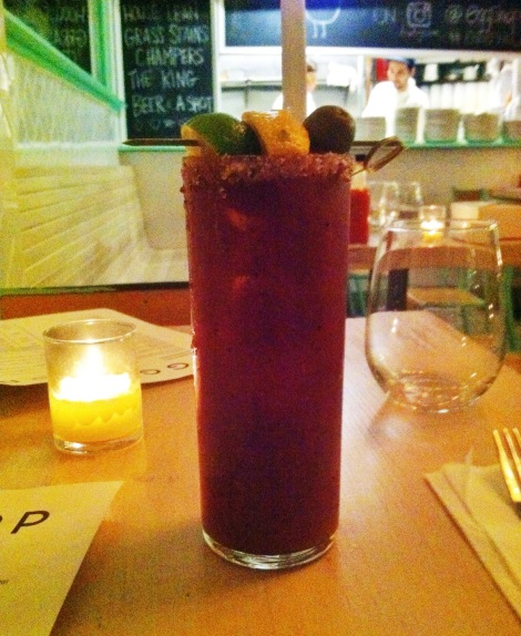 Classic Bloody Mary with Tequila, Bacon Salt Rim from Egg Shop