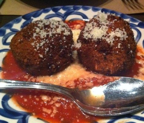 """Polpettine di Maccheroni -- Pasta """"Meatballs"""", Fontina, Pecorino, Tomato Sugo"""