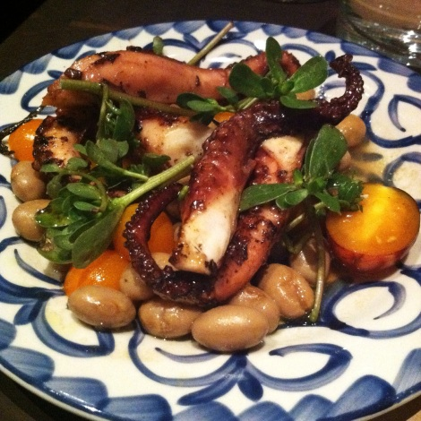 Polpo - Charred Octopus, Purslane,  Cherry Tomatoes, Cranberry Beans