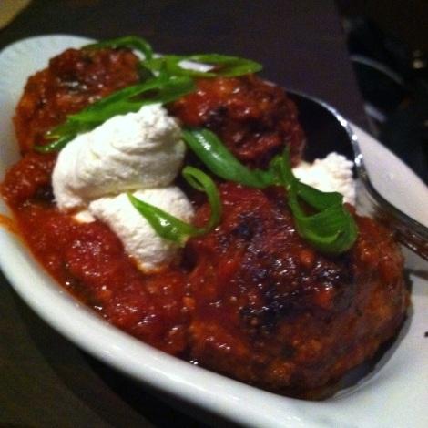 Polpettine di Coniglo -- Rabbit Meatballs, Tomato Sauce, Ricotta, Scallions