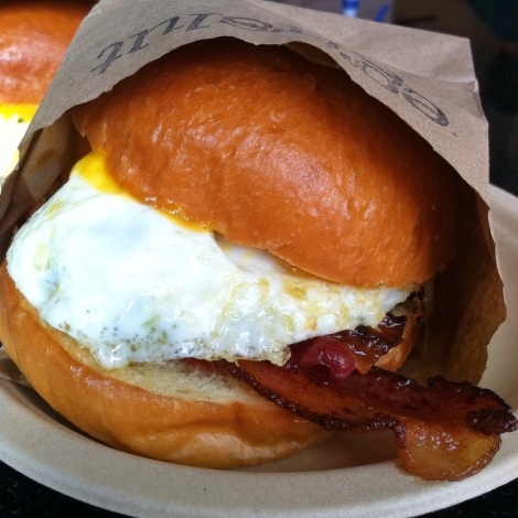 Fried Egg, Hardwood Bacon, Cheddar Cheese, Chipotle Ketchup on a Toasted Brioche Bun