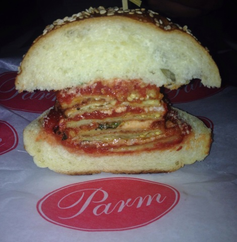 Side View of the Eggplant Parm on a Roll