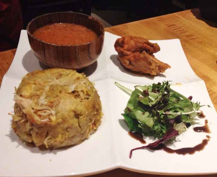 Mofongo with Chicken, Creole Style Sauce, Fried Chicken, Light Salad