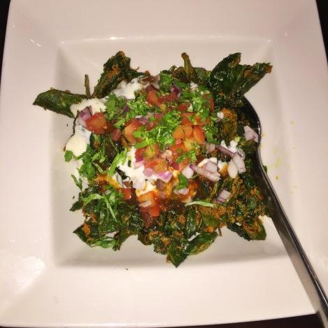 Palak Chaat -- Crispy Baby Spinach, Sweet Yogurt, Taramind & Date Chutney
