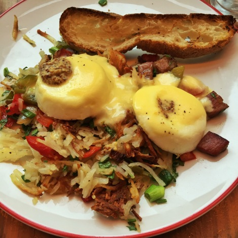 Beef Pastrami Hash (with Onions and Peppers), Poached Eggs and Mustard Hollandaise