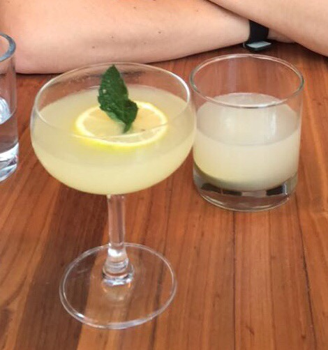 Left: Southside - Beefeater Gin, Bitters, Mint, Lemon Right: Corpse Reviver - Bombay Gin, Kubler Absinthe Cointreau, Lillet Blanc, Lemon