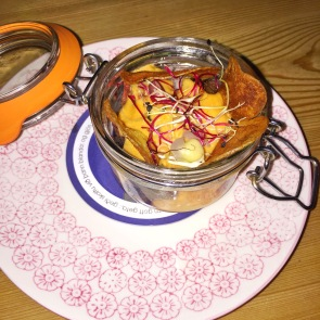 Minke Whale in a Jar with Chili Cheese Sauce, Potato Chips & Herbs