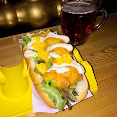 "Icelandic Lobster ""Dog"" - Deep Fried Langoustine with Aioli and Orange Slices"