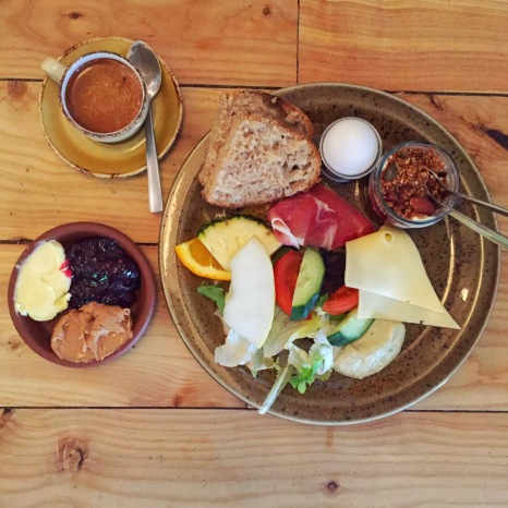 Bergsson Brunch - Sourdough, Soft Boiled Egg, Muesli with Greek Yogurt, Cheese, Prosciutto, Hummus & Fresh Fruit