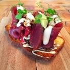 Icelandic Beef Crostini (on Brioche) with Figs, Mushroom Aioli and Dried Mushrooms