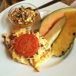 Veggie Breakfast - Scrambled Eggs, Muesli & Greek Yogurt, Fresh Fruit, Brie