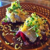 Herring with Beet Root on Rye Crackers