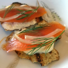 Sheep's Dung Smoked Arctic Char with Horseradish Creme on Burnt Flatbread