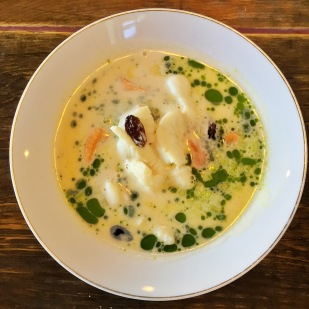 """Halibut"" Soup - Plaice fish, Mussels, Raisins & Apples"