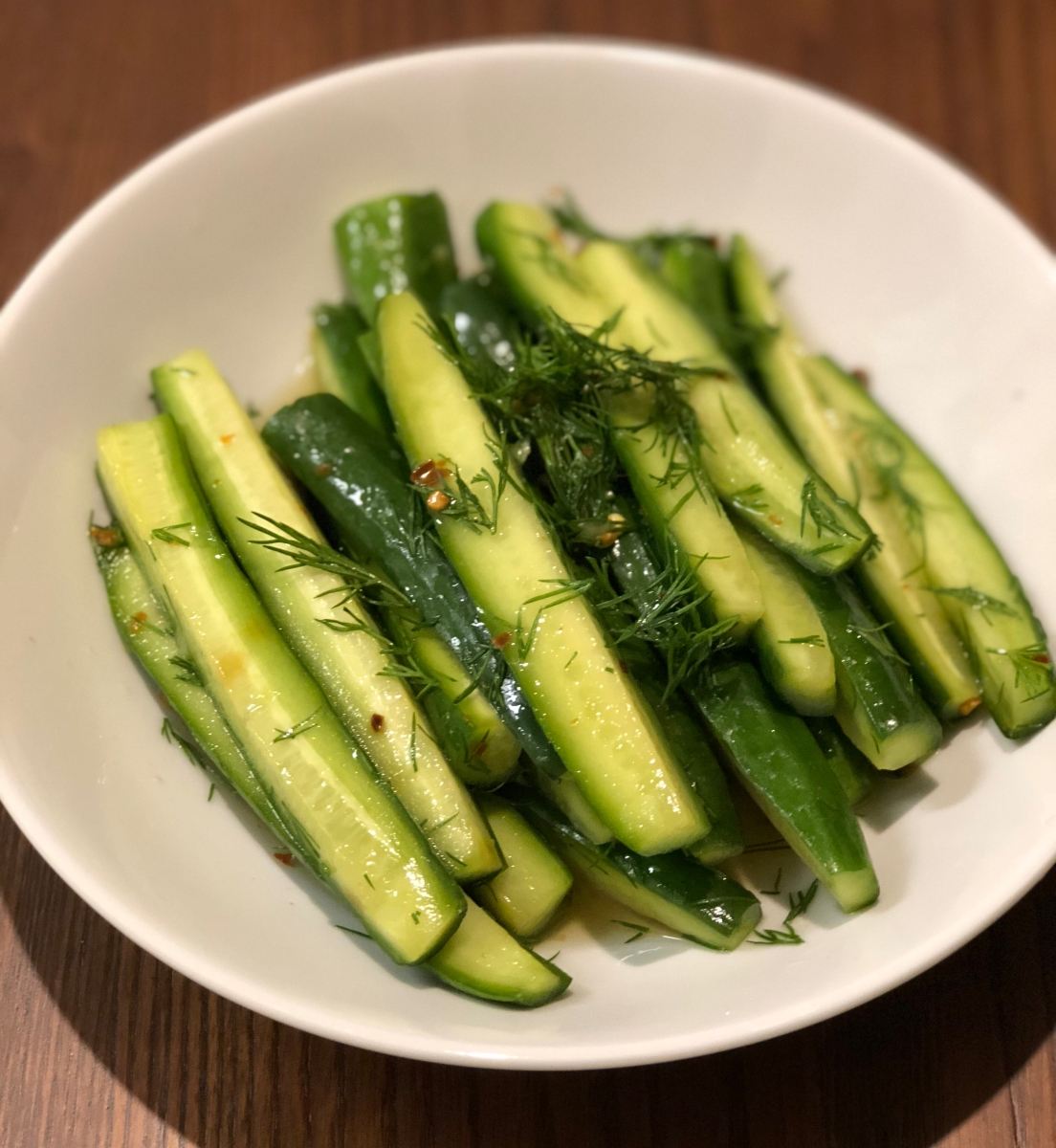 Spicy lightly pickled cucumbers