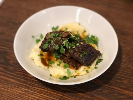 Alison Roman Short Ribs after Four Hours in the Oven over Garlic Mashed Potatoes